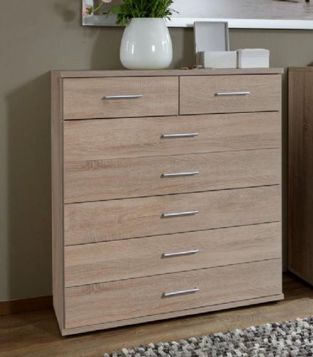 Venice Oak Effect Large Chest Of Drawers - 2370